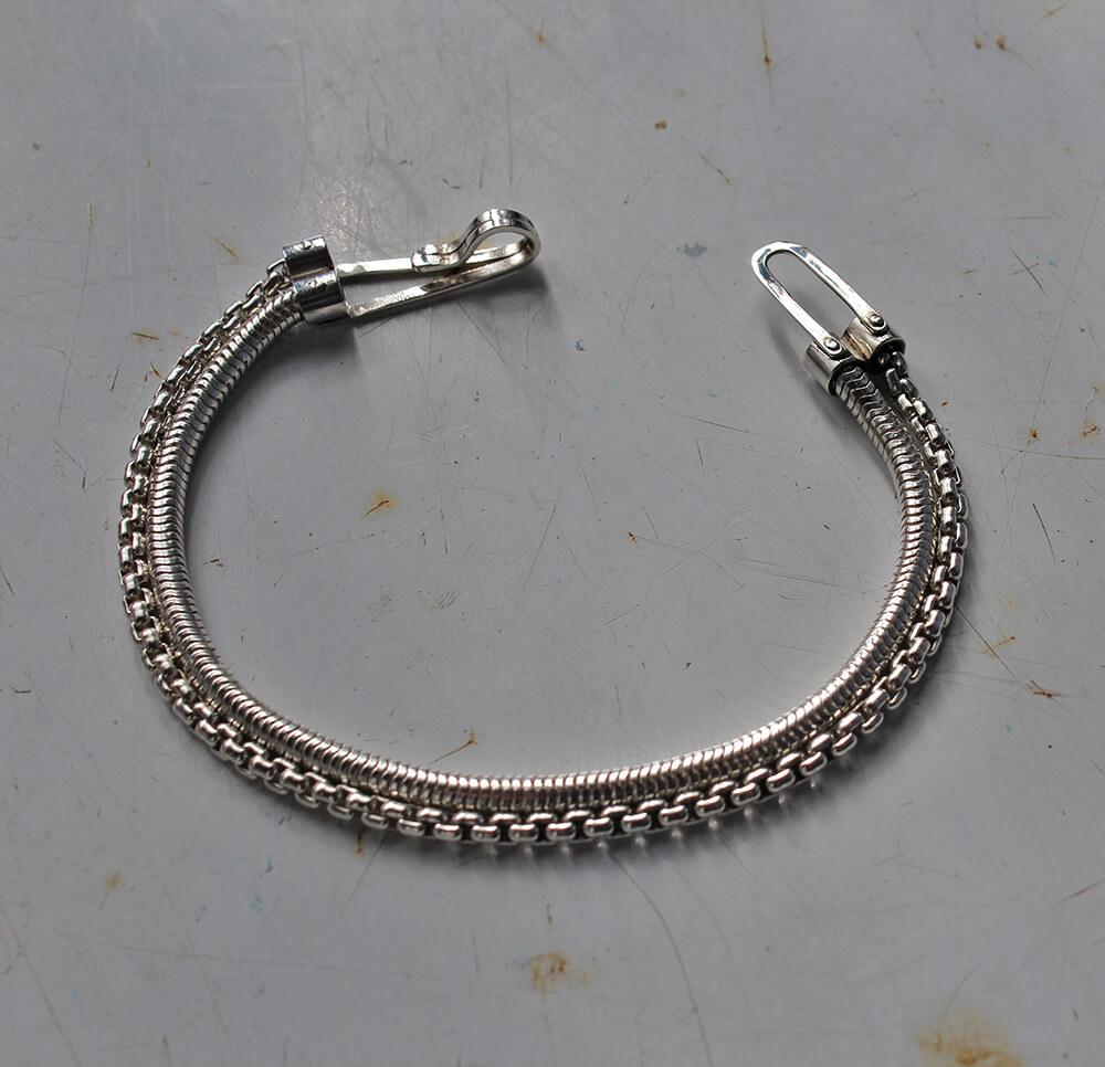Double chain bracelet - Victorian punk - Handmade sterling silver bracelet