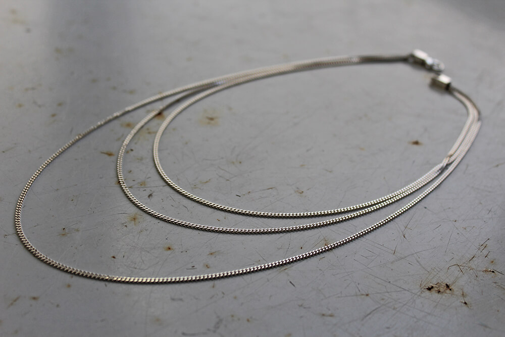 Layered necklace - three tiered - sterling silver necklace