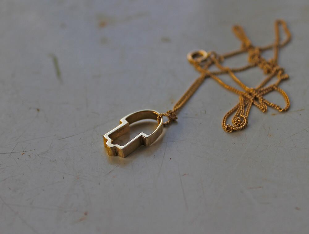 Gold Hamsa Pendant - Hamsa Hamsa