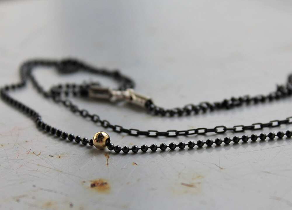 Double necklace - Punk oxide - Handmade Two tiered link chain necklace